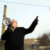 Salem Ward 5 City Councilor Josh Turiel speaks to a group of local residents who gathered across the street from the Salem Power Plant, while waiting for a group of over one hundred protestors to show up on Saturday afternoon. DAVID LE/Staff photo