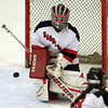 Marblehead junior goalie Aly Hopkins (1) makes a save against Masco on Thursday afternoon. DAVID LE/Staff Photo 2/6/14