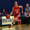 Masco senior captain Hannah Kiernan (12) pushes the ball up court during the St. Mary's Spartan Classic on Monday evening at St. Mary's High School in Lynn. DAVID LE/Staff Photo 2/17/14