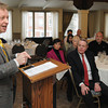 Ken Yuszkus/Staff photo:  Salem:  Jon Hurst, CEO of Retailers Association of Massachusetts, speaks at the Salem Chamber of Commerce Executive Lunch held at Finz Seafood and Grill.