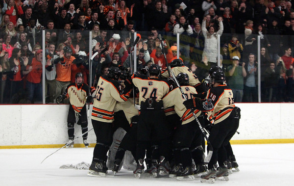 The Beverly Panthers mob junior goalie Tim Birarelli (1) after the Panthers defeated Danvers 2-1 in a shootout after two overtime periods of play in the D2 North Quarter Final. DAVID LE/Staff Photo 2/28/14