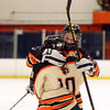 Beverly sophomore Anna Hayden, right, hugs senior captain Rachel Trocchi after Trocchi gave the Panthers a 2-1 lead over Hingham in the second period of play on Saturday afternoon. DAVID LE/Staff Photo 3/1/14