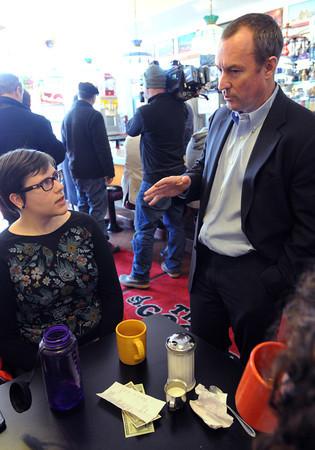 Ken Yuszkus/Staff photo: Revere:  Chip Tuttle, right, speaks to Salem resident Cortney Wieber inside The Good Diner in Revere.