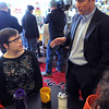 Ken Yuszkus/Staff photo: Revere:  Chip Tuttle, right, speaks to Salem resident Cortney Wieber inside The Good Diner in Revere.