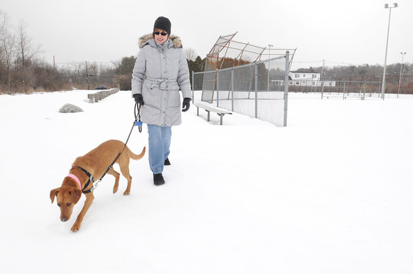 Ken Yuszkus/Staff photo: Peabody:  Tammy Ross with her dog Ruby at Corbiel Park in Peabody where she and others are trying to raise money while getting the city to put aside Corbiel Park as a dog park.