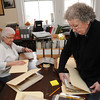 Ken Yuszkus/Staff photo: Peabody:  Volunteers Margaret Abbott, left, and Peg Lazzaro transfer files into archival boxes at the Peabody Historical Society.