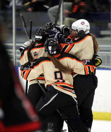 The Beverly Panthers celebrate senior captain Nicole Woods' second period goal against Hingham on Saturday afternoon. A goal by eighth grader Julia Nearis with 37.1 seconds left in the third lifted the second seeded Panthers over the eighteenth seeded Harbormen in the D1 first round at Rockett Arena. DAVID LE/Staff Photo 3/1/14