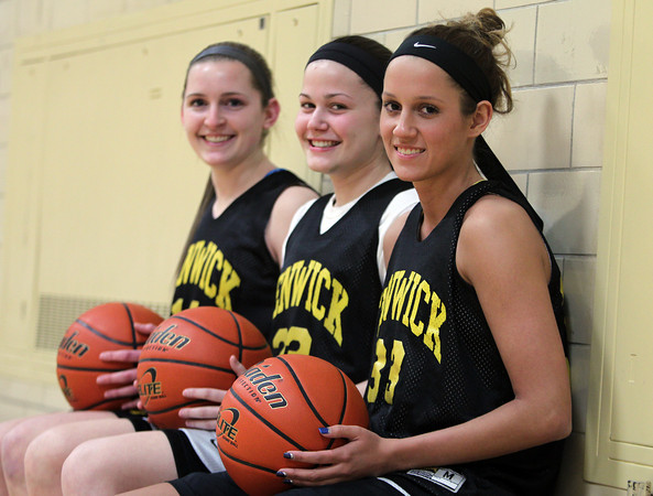 Bishop Fenwick senior girls basketball captains Bridget Corcoran, Gianna Pizzano, and Kate Lipka. DAVID LE/Staff photo