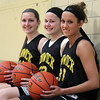Bishop Fenwick senior girls basketball captains Bridget Corcoran, Gianna Pizzano, and Kate Lipka. DAVID LE/Staff photo
