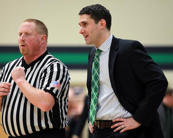 DAVID LE/Staff photo. 2/11/15. Endicott College Men's Basketball head coach Kevin Bettencourt.