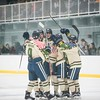 SAM GORESH/Staff photo. St. John's Prep celebrates a goal in the 1st Lt. Derek Hines Memorial Hockey Game against Newburyport at Essex Sports Center. 2/18/17