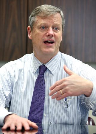 Gov. Charlie Baker speaks with the North of Boston Media Group at The Salem News
