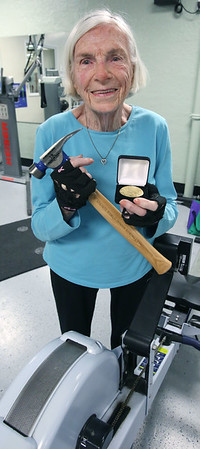"""Dorothy """"Dottie"""" Stewart, a 95-year-old Beverly resident set a world indoor record for her age category in rowing last week."""