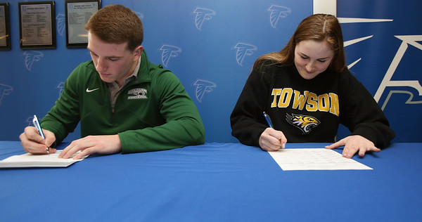 Matt Andreas and Cambria Cloutier of Danvers sign their National Letters of Intent