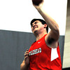 PAUL BILOLDEAU/Staff photo<br /> <br /> Dave Burdick of Marblehead during the shot put event during the NEC track meet against Gloucester at Marblehead High School.