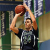 South Hamilton: Pingree sophomore guard Justin Assad (24) lines up a three-pointer against Concord Academy on Friday evening. DAVID LE/Staff Photo 1/31/14