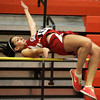 Ken Yuszkus/Staff photo: Beverly:  Salem's Deema Hijleh goes over the high bar at the Salem at Beverly indoor track meet.