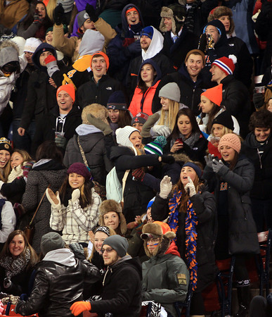 Boston: Salem State fans braved the freezing cold temperatures to watch their Vikings take on UMass Boston on Tuesday afternoon at Fenway Park. DAVID LE/Staff Photo