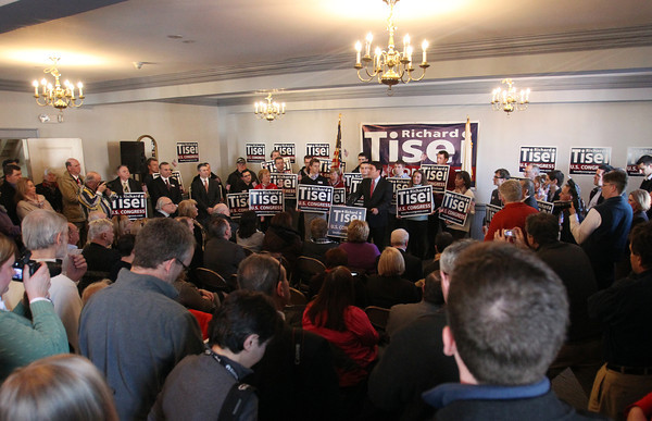 Wakefield: Supporters of Richard Tisei and media crowded into the the Heritage Room at the Wakefield American Civic Center to hear Tisei's announcement that he is running for Congress in the 6th Congressional District. DAVID LE/Staff Photo