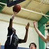 South Hamilton: Pingree sophomore forward Alonzo Jackson (3) lays the ball off the glass and in for an easy two points against Concord Academy on Friday evening. DAVID LE/Staff Photo 1/31/14