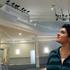 Ken Yuszkus/Staff photo:  SALEM: Nicole Leotsakos looks toward the new balcony overlooking Ames Hall after the extensive renovations.
