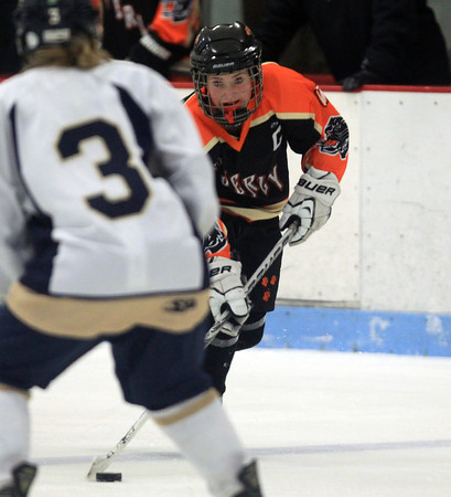 Lynn: Beverly senior captain Rachel Trocchi (10) carries the puck into the offensive zone against St. Mary's on Saturday evening during the Panthers 3-2 win over the Spartans at the Connery Arena in Lynn. DAVID LE/Staff Photo