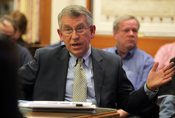 Marblehead: Marblehead Finance Director John McGinn gives the selectmen the State of the Town address on Thursday evening inside the Selectmen's meeting room at Abbott Hall. DAVID LE/Staff Photo
