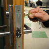 Ken Yuszkus/Staff photo: Salem: The new lock system which allows the teacher to lock the door from the inside is a new security feature for the Collins Middle School.