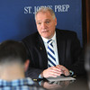 Ken Yuszkus/Staff photo: St. John's Prep's former football coach Jim O'Leary speaks at a press conference to announce the new football coach Brian St. Pierre.