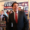 Wakefield: Richard Tisei flashes a wide grin after officially announcing his candidacy for Congress in the 6th District, challenging current Congressman John Tierney to a rematch from the 2012 election. DAVID LE/Staff Photo