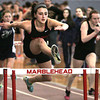 Ken Yuszkus/Staff photo: Marblehead: Marblehead's Olivia Vener wins her heat in the hurtles at the North Shore Tech at Marblehead boys/girls indoor track meet.