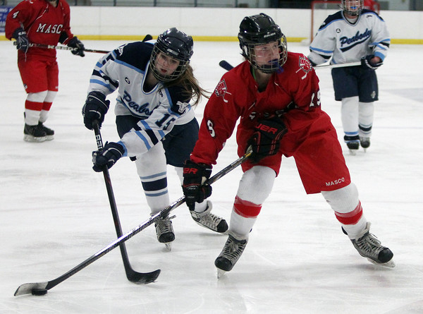 Peabody: Peabody defenseman Bella Piscatelli (15) reaches her stick in and lifts Masco forward Maddy Werner's (19) stick during the second period of play on Wednesday afternoon. DAVID LE/Staff Photo