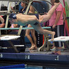 Salem: St. John's Prep swimmer Jake Bennet launches himself off the starting blocks at the start of the 50 Freestyle race against Chelmsford on Wednesday evening. DAVID LE/Staff Photo