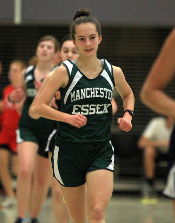 Ipswich: Manchester-Essex senior Fiona Davis wins the 2-mile in a tri-meet with Saugus and Ipswich on Friday afternoon. DAVID LE/Staff Photo