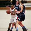 Salem: Salem's Maritza Scott (12) tries to make a play while being surrounded by Peabody's Carolyn Scacchi (34) and Alex Lomasney (11) on Tuesday evening. DAVID LE/Staff Photo