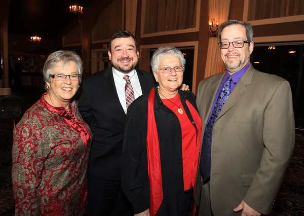 Danvers: From left, Gail Arnold, C.R. Lyons, Fran Weil, and Gardner Trask, at the 13th annual Dr. Martin Luther King Awards Dinner sponsored by the Danvers Committee for Diversity at the Danversport Yacht Club on Monday evening. DAVID LE/Staff Photo