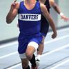Ken Yuszkus/Staff photo: Danvers: Danvers' John Thomas wins his heat in the 55 meter dash during the Swampscott at Danvers indoor track meet.