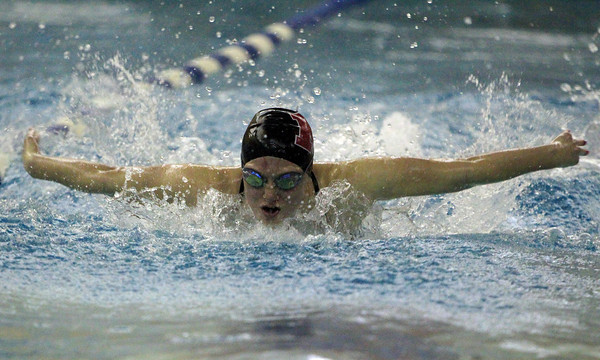 Peabody: Marblehead sophomore Kylie Cronin swims the fly leg during the 200 Medley Relay against Peabody on Thursday evening at the Torigian Family YMCA. DAVID LE/Staff Photo