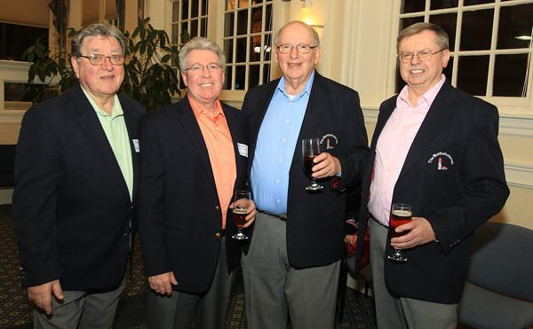Salem: From left, Fran Page, Steve O'Connell, Irwin Cohen, and Charlie Coogan, of the Essex County Four Barbershop Quartet, at the Salem Chamber of Commerce After Hours Networking event held inside the Salem Five Community Room on Wednesday evening. DAVID LE/Staff Photo