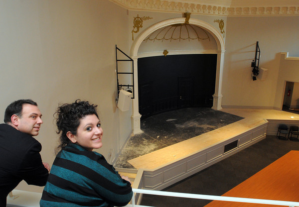 Ken Yuszkus/Staff photo:  SALEM:  Chris Lovasco and Nicole Leotsakos stand on the new balcony overlooking Ames Hall after the extensive renovations.