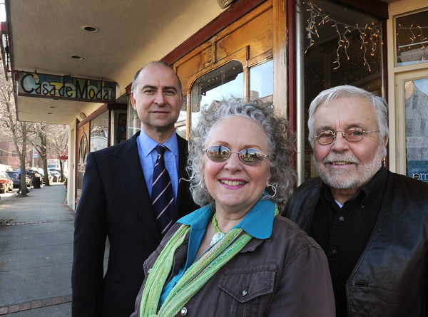 Ken Yuszkus/Staff photo: Beverly:  From left, Frank Kaminski, Janice Preston, and Don Preston, in front of Casa de Moda in downtown Beverly. Kaminski is buying the two buildings where Casa de Moda is located but the store, which opened in 1969, will consolidate and remain open in one of the buildings.