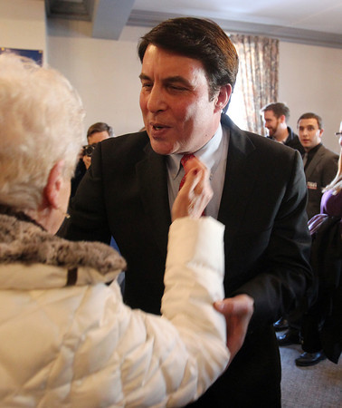 Wakefield: Congressional candidate Richard Tisei, greets Wakefield Selectwoman Phyllis Hull, after officially announcing his candidacy for the 6th Congressional District inside the Heritage Room at the Wakefield American Civic Center on Thursday afternoon. DAVID LE/Staff Photo