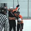 Lynn: Beverly forward Julia Nearis (16), left, celebrates her late third period go-ahead hat-trick goal with senior captain Nicole Woods (4). Nearis led the way for the Panthers as they defeated St. Mary's 3-2 on Saturday evening at Connery Arena in Lynn. DAVID LE/Staff Photo