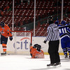 Boston: Salem State freshman Brad Jones (15) and junior captain Ian Canty (7) can't bear to watch UMass Boston celebrate their go-ahead goal during the third period of play on Tuesday afternoon. The Vikings fell to the Beacons 4-2. DAVID LE/Staff Photo