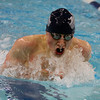 Salem: St. John's Prep swimmer Michael Xanakis swims the breaststroke leg of the 200IM on Wednesday evening against Chelmsford at the O'Keefe Center pool. DAVID LE/Staff Photo