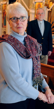 Ken Yuszkus/Staff photo: Salem:  Joy Morris with her husband, the Rev. James Morris at St. John the Baptist Ukrainian Catholic Church in Salem.