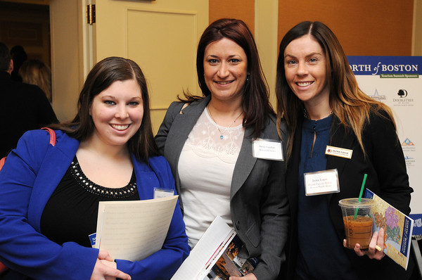 Ken Yuszkus/Staff photo:  Danvers: From left, Andrea LaChance of Holiday Inn & Suites, Peabody, Sarah Comfort of SpringHill Suites, and Jackie Logue of DoubleTree By Hilton Boston/Northshore, attended the North of Boston Convention and Visitors Bureau Tourism summit.