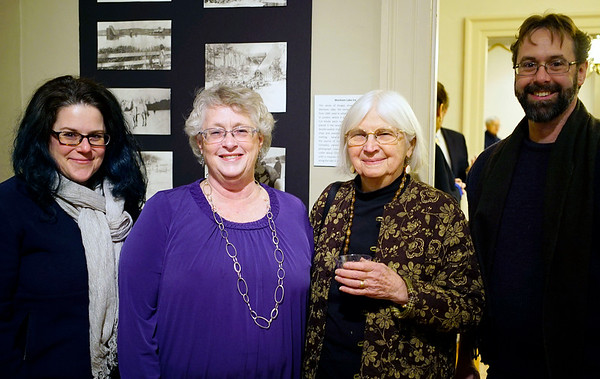 """NICOLAS TANNER/Photo.     From right to left, Jennifer McFadden, Terri McFadden, Nancy Coffee, and Mike McFadden, all of Beverly. An exhibit called """"Chilly Business,"""" which focuses on a local ice production business opens at the Beverly Historical Society in Beverly. 1/19/17"""