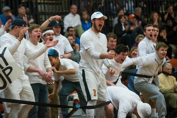 Beverly fans cheer  for their team as they play Danvers at Beverly High School. 1/3/17