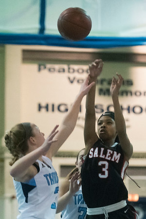 Salem junior Chrishae Dunston shoots the ball in their game against Peabody at Peabody High School. 1/10/17